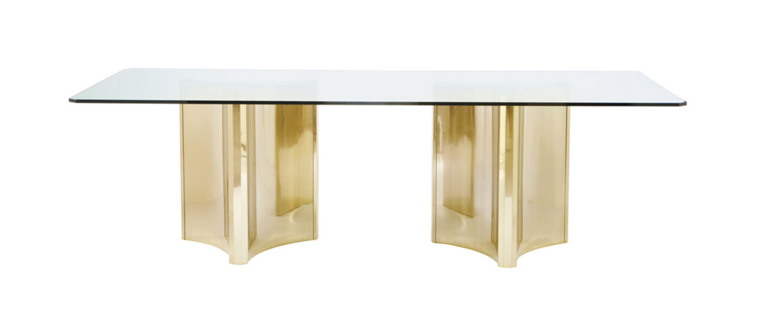 Bernhardt Interiors -Metal Dining Table with Glass Top